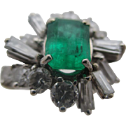 14kt Emerald and diamond ladies ring.