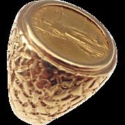 14kt Gentlemans 5 dollar liberty-gold ring