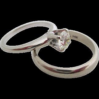 Ladies 14kt vintage diamond wedding set.