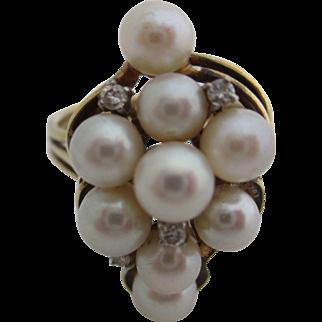 Ladies 14kt vintage cultured pearl and diamond ring.