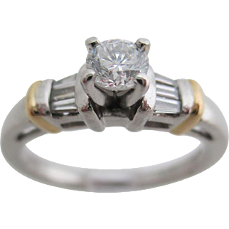 Ladies platinum and 18kt vintage diamond engagement ring.