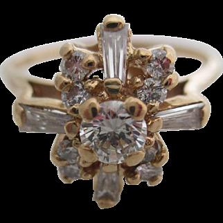 Ladies 14kt vintage diamond cluster ring.