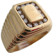 Gentlemans vintage 14kt diamond ring.
