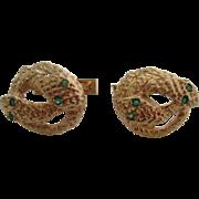 Gentlemans 14kt Victorian snake cufflinks.