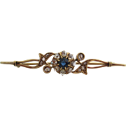 Ladies 14kt Victorian  rose-gold old-mine-cut sapphire and rose-cut diamond bar pin .