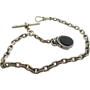 Gentlemans antique sterling watch chain and fob.