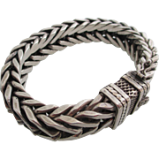 Gentlemans vintage sterling silver double-braided bracelet.