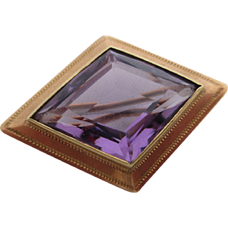 Ladies 14kt Victorian amethyst pin.