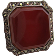 Ladies Art Deco sterling silver carnelian and marcasite ring.