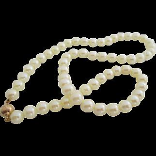 Ladies vintage 14kt yg Akoya cultured pearls.
