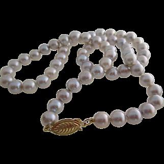 Ladies vintage 14kt yg silver Akoya cultured pearls.