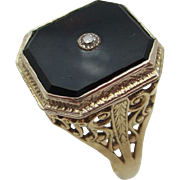 14kt Onyx,diamond filigree ladies ring
