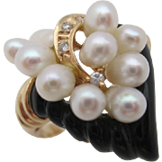 14kt Onyx,seed pearl and diamond ladies ring