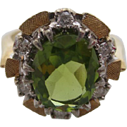 14kt Peridot and diamond ladies ring