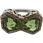 14kt Deco peridot filigree  ladies ring