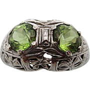 14kt Deco peridot ladies ring
