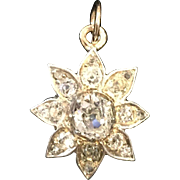Victorian Diamond Lotus Flower Pendant silver topped (800/1000) and 18 karat yellow gold backed