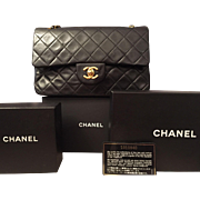 Vintage Chanel Medium Classic (Double Flap) Black Lambskin Bag Circa 1980s
