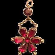 Georgian 15 Karat Gold Flat Cut Garnet Pendant