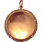 Victorian Rose Cut Diamond Rock Crystal Locket silver topped (greater than 800 purity) 9 Karat Yellow Gold backed