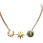 All Victorian 9-15 karat yellow gold brooch conversion necklace