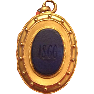Victorian etruscan revival 14K gold double sided lapis locket