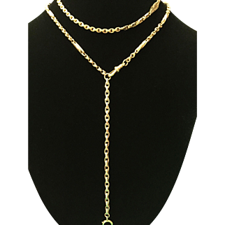 Victorian 9k gold multi link necklace made of gold belcher and watch chains