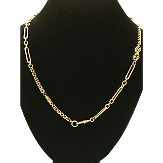 Victorian 9k -15k gold multi link necklace made of gold belcher and watch chains