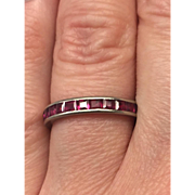 Art Deco English Ruby and platinum eternity ring