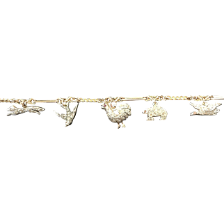 Rare Victorian Diamond Charm Bracelet