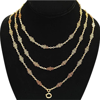 Antique French 18K Yellow Gold Fancy Link Necklace