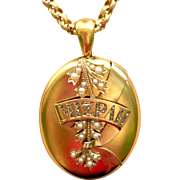 "Victorian 18K Gold ""MIZPAH"" Rose Cut Diamond and Pearl Picture locket"