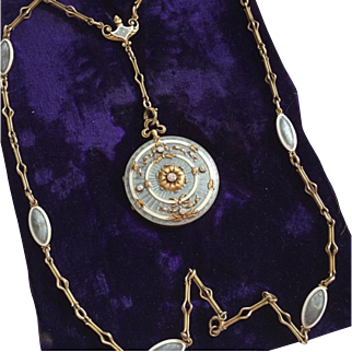 Whiteside and Blank Very Fine Edwardian 14K Gold and Platinum Guilloch'e Enamel and Diamond Locket and Fancy Link Chain