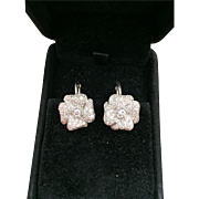 Vintage Diamond Floral Earrings 14 karat white gold