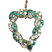 Victorian Diamond and Emerald Witches Heart Pendant