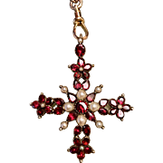 Georgian 9k yellow gold pearl and flat cut garnet Maltese Cross pendant