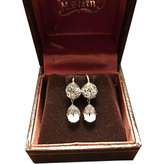 Antique late Georgian/early Victorian Paste Round and Marquise drop Silver and 9K gold earrings
