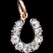 Victorian/Edwardian 9k gold diamond horseshoe charm
