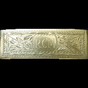 Silver/Nickel Chased Bar Pin