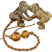 Monkeys Kissing- carved netsuke type with Pekin beads