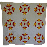 Quilt Red & Cheddar *Goose Tracks* 1800's