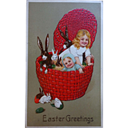 Easter Postcard Children & Bunnies Basket