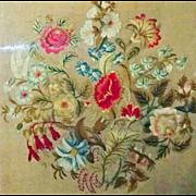 Victorian Crewel-work Floral Wreath ~ 3D framed