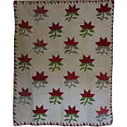 Antique Crib Quilt Red Green White Applique Lilies