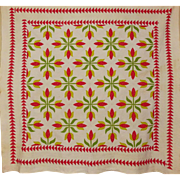 19th c. Quilt ~Applique Tulips Sawtooth border A+++++