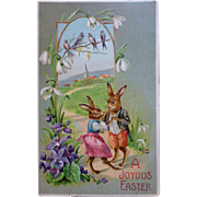 Easter Postcard early 1900 Bunny Couple dancing on flowery path Adorable