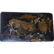 Japanese Lacquer Painted Box--Samurai procession 1800s