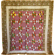 19th c. Quilt- Chintz, fab array of prints Unused