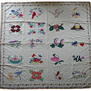 Vintage Sampler Quilt Applique, baskets, birds, bouquets