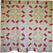 mid-1800's Applique Quilt - Berry Clusters